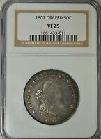 1807 DRAPED BUST HALF DOLLAR, NGC VF25