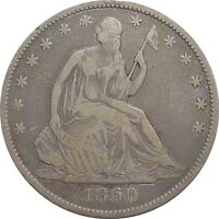 1860 O SEATED HALF DOLLAR  NICE LOOKING FINE