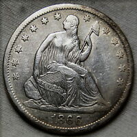 1866 S SEATED LIBERTY HALF DOLLAR XF TO POSSIBLY AU DETAIL US COIN