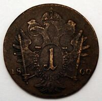 AUSTRIA EMPIRE 1 KREUZER 1800 BILLON COPPER COIN