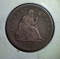 1857 O 25C LIBERTY SEATED QUARTER  VF