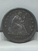 1862 SEATED LIBERTY SILVER QUARTER DOLLAR COIN VF XF 932,000 MINTED