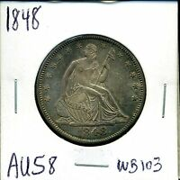 1848 50C LIBERTY SEATED HALF DOLLAR IN AU CONDITION WB 103