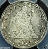1873 25C SEATED LIBERTY QUARTER WITH OPEN 3 PCGS MS65