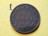 1881 H CANADA LARGE CENT COIN  CANADIAN ONE CENT