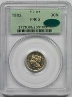 1882 NICKEL THREE CENT PIECE 3CN PROOF PR 66 PCGS CAC APPROVED   OGH