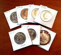 MIXED LOT SET OF 7 KENNEDY HALF DOLLAR COINS CIRCULATED 1972 2013 VARIETY