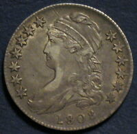 1808 CAPPED BUST HALF DOLLAR O 106A R2 HIGHER GRADE EARLY YEAR