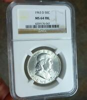 1963 D NGC MS64 FBL FRANKIN SILVER HALF DOLLAR FULL BELL LINE MS 64 COIN