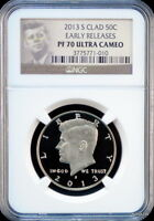 2013 S CLAD KENNEDY HALF  EARLY RELEASE   NGC PF 70  ULTRA  CAMEO