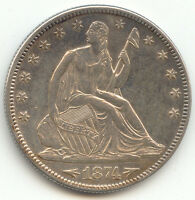 1874 ARROWS SEATED LIBERTY HALF DOLLAR,AU UNC DETAILS,WB 103,LARGE/SMALL ARROWS