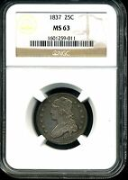 1837 25C CAPPED BUST QUARTER DOLLAR MS63 NGC