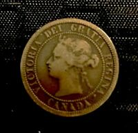 QUEEN VICTORIA    1876 H CANADA LARGE CENT    F LOT H