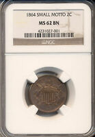 1864 SMALL DATE TWO CENT PIECE  NGC CERTIFIED MINT STATE 62 BN KEY DATE OF SET