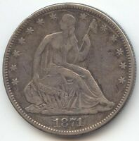 1871 SEATED LIBERTY HALF DOLLAR VF OR BETTER
