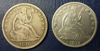 1846  1877 SEATED LIBERTY HALF DOLLARS SILVER 50C CENTS 2 ANTIQUE US COINS LOT
