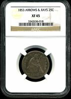 1853 ARROWS & RAYS 25C LIBERTY SEATED QUARTER DOLLAR XF45 NGC