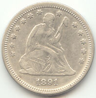1891 SEATED LIBERTY QUARTER LUSTROUS XF AU DETAILS LAST YEAR