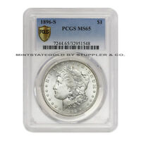 1896 S $1 MORGAN PCGS MS65 GEM SAN FRANCISCO SILVER DOLLAR COIN SECURE PLUS