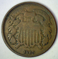 1865 TWO CENT UNITED STATES TYPE COIN GRADED GOOD G RR