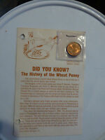 UNCIRCULATED 1958 D LINCOLN HEAD/WHEAT PENNY CARD ATTACHED LOOK