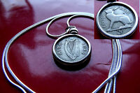 LOVELY 1942 IRELAND HARP & HARE COIN PENDANT ON A 30