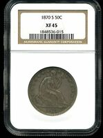 1870 S 50C LIBERTY SEATED HALF DOLLAR XF45 NGC