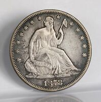 RAW 1878 SEATED LIBERTY 50C UNCERTIFIED UNGRADED PHILLY MINT SILVER HALF DOLLAR