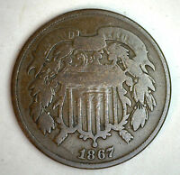 1867 2 CENTS UNITED STATES TYPE COIN COPPER TWO CENT GOOD G