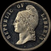 FINEST & ONE & ONLY @ NGC & PCGS 1889 E LIBERIA 25C KM PN26 NGC PF63 CAMEO CENT