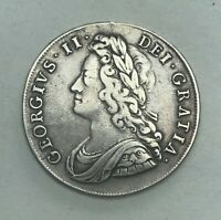 COLLECTABLE 1741 KING GEORGE II HALF CROWN COIN   ROSE ON REVERSE IN ANGLE DIES
