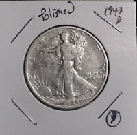 1943-D WALKING LIBERTY SILVER HALF DOLLAR. COLLECTOR COIN FOR YOUR COLLECTION.