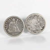 RAW SEATED LIBERTY 25C 2 PACK 1876 CC 1891 P CIRCULATED US SILVER QUARTER COINS