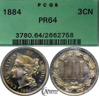 1884 THREE CENT NICKEL PCGS PR64 OGH  OLD PROOF COIN CHOICE GEM  TONING