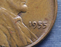 1955 LINCOLN WHEAT CENT POOR MANS DOUBLE DIE. 5 IN DATE. ERROR COIN. FREE S&H