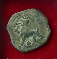 SPAIN 20MM LION CASTLE 1500S/ 1600S MARAVEDIS COIN GOOD PATINA