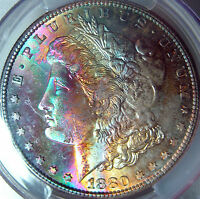 1880 S RAINBOW TONED MORGAN SILVER DOLLAR PCGS MS64 MONSTER COLORFUL OBVERSE
