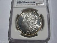 1880 S NGC MS64 MORGAN SILVER DOLLAR    BRIGHT AND LUSTROUS NEAR PL & RIM TONED