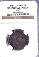 1787 GREAT BRITAIN SILVER SHILLING COIN SILVER PATTERN GRADED PF 63 BY NGC
