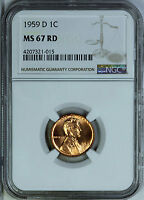 1959 D NGC MS67RD LINCOLN CENT