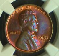 1953 D NGC MINT STATE 62 BLUE & PINK 2-SIDED COLOR TONE WHEAT CENT, GORGEOUS TONING