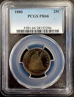 1880 PROOF SEATED LIBERTY SILVER QUARTER CERTIFIED PF 66 BY NGC