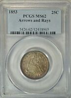 1853 SEATED QUARTER ARROWS AND RAYS PCGS MS62