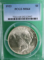 1923 SILVER PEACE DOLLAR UNITED STATES COIN PCGS MS64 UNCIRCULATED R