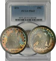 1872 LIBERTY SEATED QUARTER 25C PROOF PR 65 PCGS   RAINBOW COLOR TONE POP 17/12