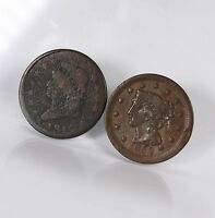 2 PACK US COPPER LARGE CENT 1C 1810 1852 UNGRADED UNCERTIFIED CIRCULATED COINS