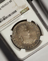 1820 MEXICO 8 REALES NGC AU53 TONED
