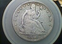 1890 SEATED LIBERTY HALF DOLLAR   DATE