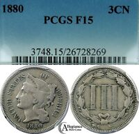 1880 THREE CENT NICKEL PCGS F15  OLD COIN KEY DATE MINTAGE  2100 PIECES