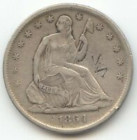 1864 S SEATED LIBERTY HALF DOLLAR XF DETAILS